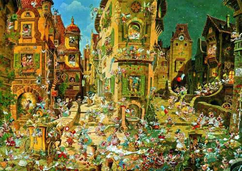 Romantic Town (HEY29127), a 1500 piece jigsaw puzzle by HEYE. Click to view larger image.