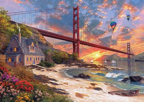 Golden Gate Cottage (JUM18333), a 1000 piece jigsaw puzzle by Jumbo. Click to view larger image.