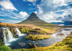 Waterfall at Kirkjufell, Iceland (RB19539-8), a 1000 piece Ravensburger jigsaw puzzle.