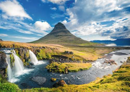 Waterfall at Kirkjufell, Iceland (RB19539-8), a 1000 piece jigsaw puzzle by Ravensburger. Click to view larger image.