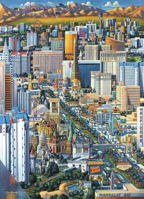 Las Vegas (Suitcase Box) (MP45091), a 1000 piece jigsaw puzzle by Masterpieces. Click to view larger image.