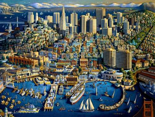 San Francisco (Suitcase Box) (MP71177), a 1000 piece jigsaw puzzle by Masterpieces. Click to view larger image.