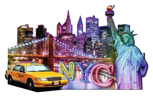 New York (Shaped Puzzle) (RB16153-9), a 1158 piece jigsaw puzzle by Ravensburger. Click to view larger image.