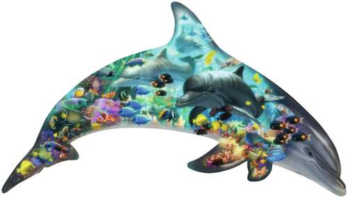 Dolphins (Shaped Puzzle) (RB16154-6), a 862 piece jigsaw puzzle by Ravensburger. Click to view larger image.
