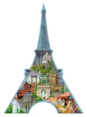 Eiffel Tower (Shaped Puzzle) (RB16152-2), a 960 piece jigsaw puzzle by Ravensburger. Click to view larger image.