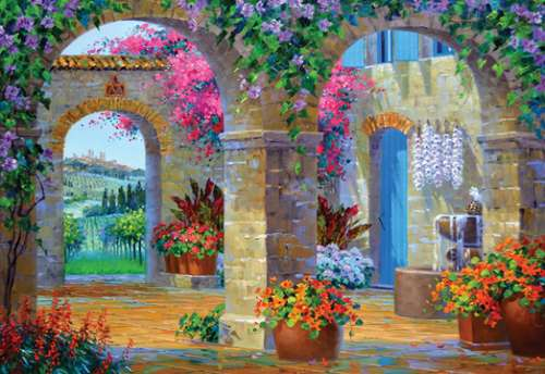 Glimpse of Tuscany (HOL096473), a 500 piece jigsaw puzzle by Holdson. Click to view larger image.