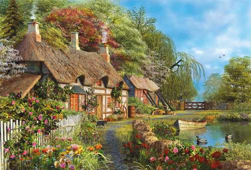Riverside Home in Bloom (EDU16323), a 4000 piece jigsaw puzzle by Educa. Click to view larger image.