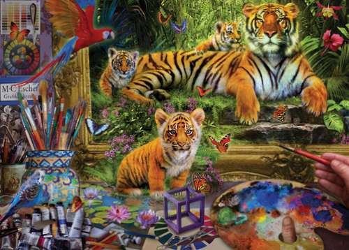 Tiger Painting (HOL096282), a 1000 piece jigsaw puzzle by Holdson. Click to view larger image.