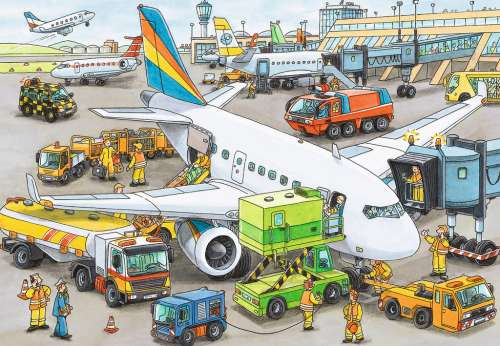 Busy Airport (RB08603-0), a 35 piece jigsaw puzzle by Ravensburger. Click to view larger image.