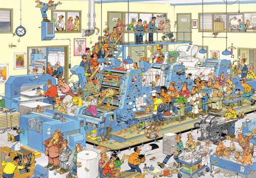 The Printing Office (1500pc) (JUM19039), a 1500 piece jigsaw puzzle by Jumbo. Click to view larger image.