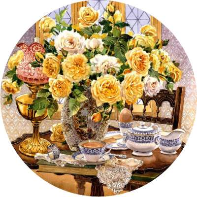 Teatime Roses (HOL097968), a 500 piece jigsaw puzzle by Holdson. Click to view larger image.