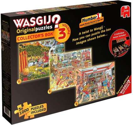 Wasgij Collectors Box 3 (3-in-1) (JUM19115), a 1000 piece jigsaw puzzle by Jumbo. Click to view larger image.