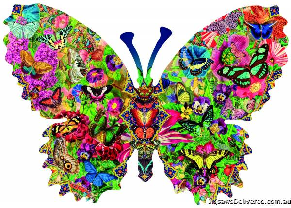 Butterfly Menagerie (Shaped Puzzle) (SUN96127), a 1000 piece jigsaw puzzle by Sunsout.