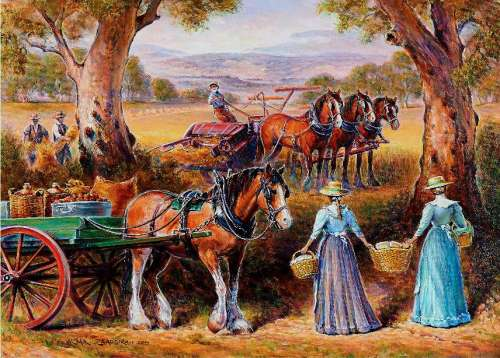 Harvest Lunch (Redgum Ranges) (HOL097326), a 1000 piece jigsaw puzzle by Holdson. Click to view larger image.