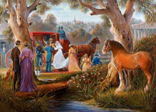 Carriage Marriage (Redgum Ranges) (HOL097319), a 1000 piece jigsaw puzzle by Holdson. Click to view larger image.