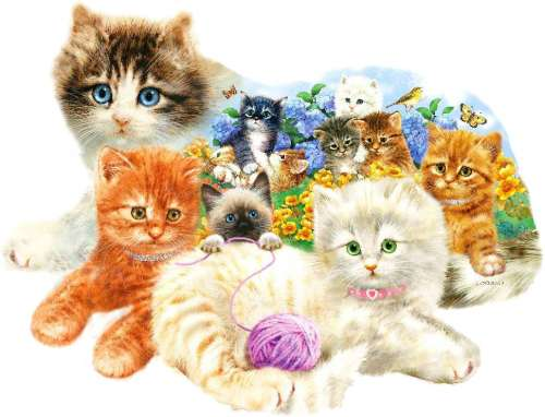 A Litter of Kittens (Shaped Puzzle) (SUN95958), a 1000 piece jigsaw puzzle by Holdson. Click to view larger image.