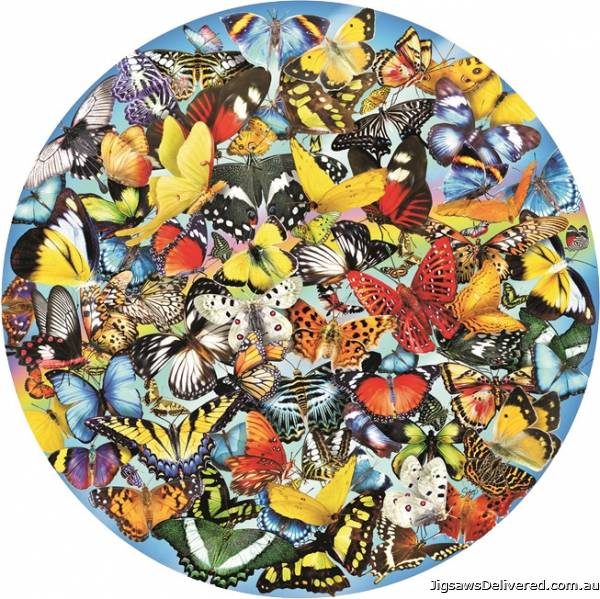 Butterflies in the Round (SUN34953), a 1000 piece jigsaw puzzle by Sunsout.