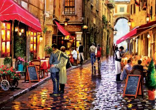 Cafe Street (EDU16788), a 8000 piece jigsaw puzzle by Educa. Click to view larger image.