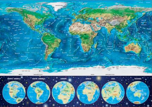 World Map (Glow in the Dark) (EDU16760), a 1000 piece jigsaw puzzle by Educa. Click to view larger image.