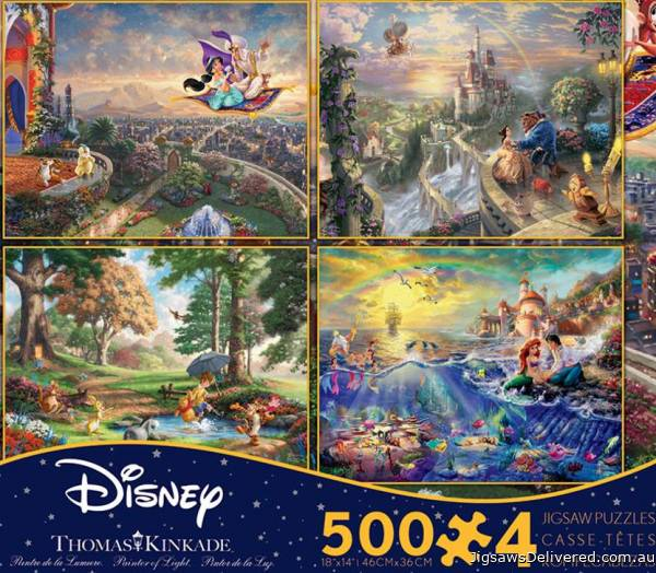 Disney Kinkade Collection (4 x 500pc) (CEA3667), a 500 piece jigsaw puzzle by Ceaco.