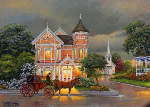 Rainy Afternoon (Down the  Lane) (HOL097920), a 1000 piece jigsaw puzzle by Holdson. Click to view larger image.