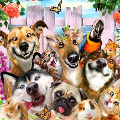 Dog-Gone Cute (Selfies) (HOL097821), a 500 piece jigsaw puzzle by Holdson. Click to view larger image.