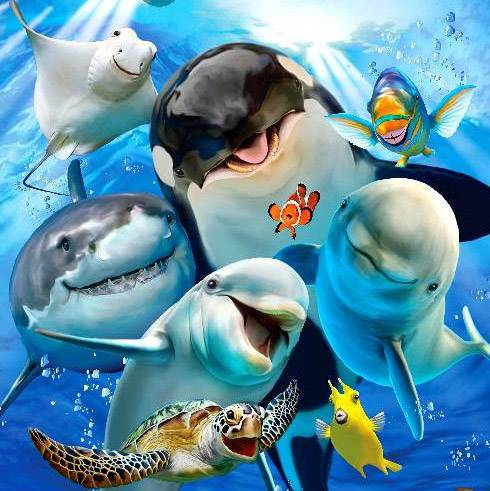 Underwater Buddies (Selfies) (HOL097852), a 500 piece jigsaw puzzle by Holdson.