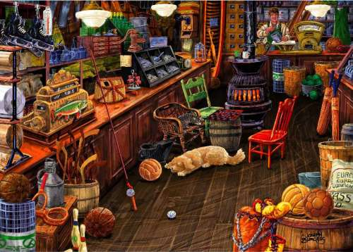 Sports Store (Love to Shop) (HOL097586), a 1000 piece jigsaw puzzle by Holdson. Click to view larger image.
