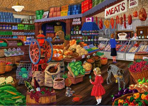 Grocery Store (Love to Shop) (HOL097579), a 1000 piece jigsaw puzzle by Holdson. Click to view larger image.