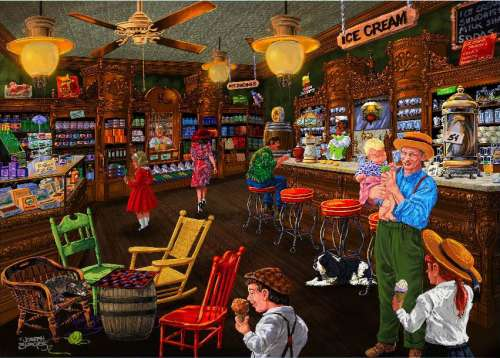 Ice Cream Parlour (Love to Shop) (HOL097562), a 1000 piece jigsaw puzzle by Holdson. Click to view larger image.