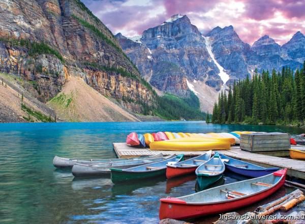 Moraine Lake Canoes, Canada (EUR60693), a 1000 piece jigsaw puzzle by Eurographics.