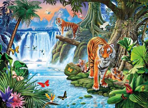 Tiger's Family (CLE 31636), a 1500 piece jigsaw puzzle by Clementoni. Click to view larger image.