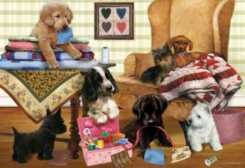 Playful Puppies (HOL095773), a 300 piece jigsaw puzzle by Holdson. Click to view larger image.