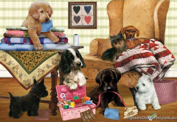Playful Puppies (HOL095773), a 300 piece jigsaw puzzle by Holdson.