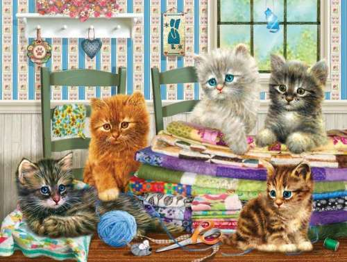 Kitten Capers (HOL095766), a 300 piece jigsaw puzzle by Holdson. Click to view larger image.