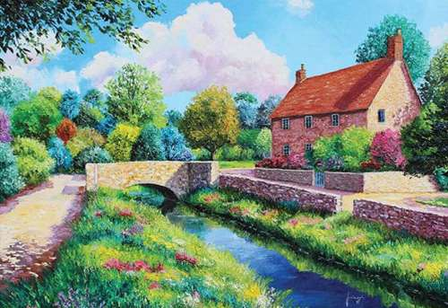 The Stone Bridge (HOL094578), a 500 piece jigsaw puzzle by Holdson. Click to view larger image.
