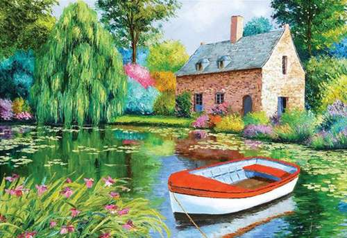 The Pond House (HOL094561), a 500 piece jigsaw puzzle by Holdson. Click to view larger image.