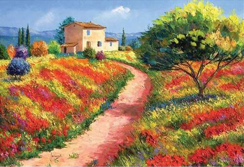 Provencal House (HOL094554), a 500 piece jigsaw puzzle by Holdson. Click to view larger image.