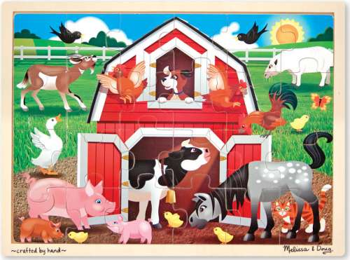 Barnyard Animals (Wooden Puzzle) (MND9061), a 24 piece jigsaw puzzle by Melissa and Doug. Click to view larger image.