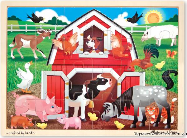 Barnyard Animals (Wooden Puzzle) (MND9061), a 24 piece jigsaw puzzle by Melissa and Doug.
