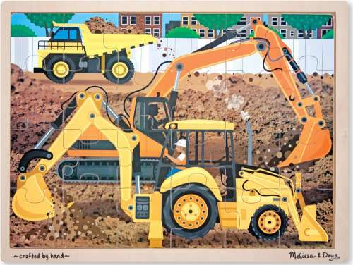 Diggers at Work (Wooden Puzzle) (MND9064), a 24 piece jigsaw puzzle by Melissa and Doug. Click to view larger image.