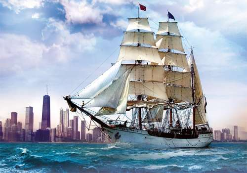 Sailing towards Chicago (TRE37120), a 500 piece jigsaw puzzle by Trefl. Click to view larger image.