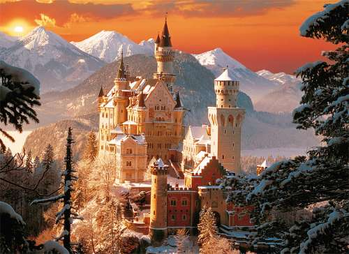Neuschwanstein Castle Winter (TRE33025), a 3000 piece jigsaw puzzle by Trefl. Click to view larger image.