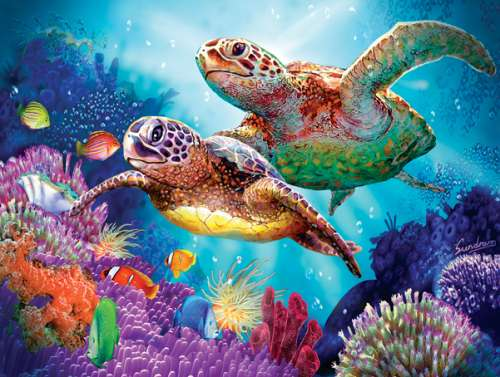 Turtle Guardian (SUN70930), a 1000 piece jigsaw puzzle by Sunsout. Click to view larger image.