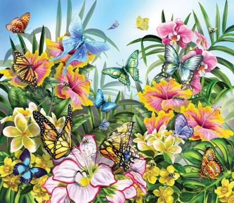 Butterflies in the Garden (SUN34890), a 200 piece jigsaw puzzle by Sunsout. Click to view larger image.