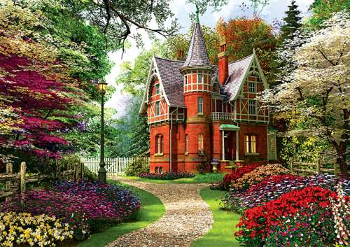 Victorian Cottage (TRE10355), a 1000 piece jigsaw puzzle by Trefl. Click to view larger image.