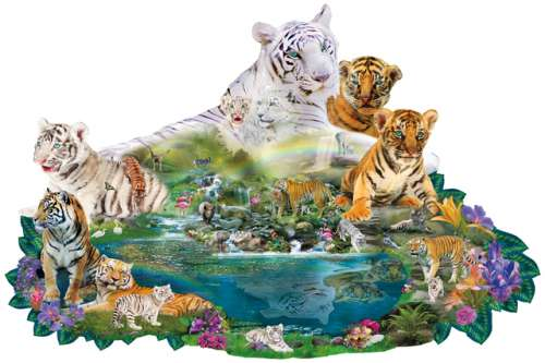 Tigers at the Pool (Shaped Puzzle) (SUN96108), a 1000 piece jigsaw puzzle by Sunsout. Click to view larger image.