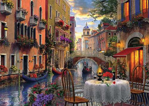 Romantic Dinner in Venice (TRE65003), a 6000 piece jigsaw puzzle by Trefl. Click to view larger image.