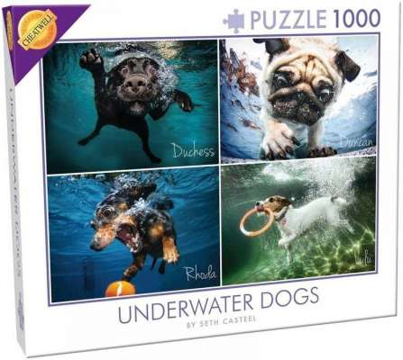 Underwater Dogs (CHE28217), a 1000 piece jigsaw puzzle by Cheatwell Games. Click to view larger image.