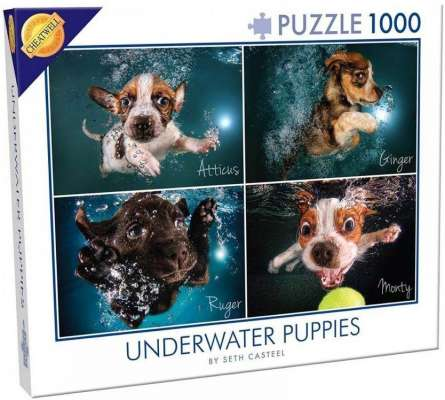 Underwater Puppies (CHE28224), a 1000 piece jigsaw puzzle by Cheatwell Games. Click to view larger image.
